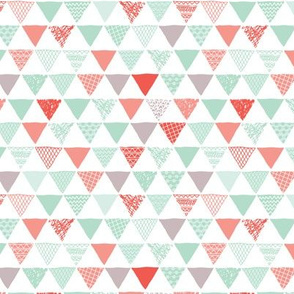 Geometric tribal aztec triangle mint gray and coral modern patterns