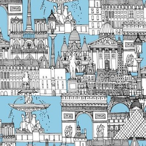 Paris toile cornflower blue
