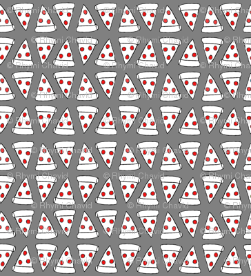 Pepperoni pizza slice grey red fabric space panda for Space pizza fabric