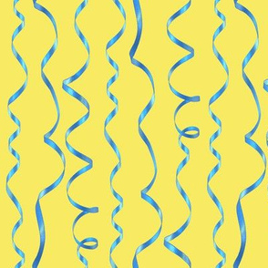 blue curling ribbons on yellow