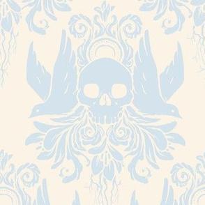 Skull and Birds Brocade: Lavender