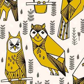 Geo Owls - Mustard (large version) by Andrea Lauren
