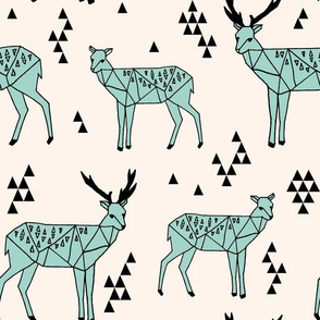 Geo Deer - Pale Turquoise (Large Version) by Andrea Lauren