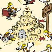 Seagulls constructing sandcastle
