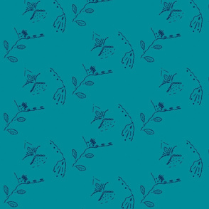 teal meadow with navy flower embroidery