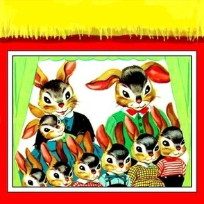 rabbits hares bunny bunnies family siblings parents mothers fathers sisters sons daughters baby toddlers children windows curtains seamless home