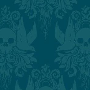Skull and Birds Brocade: Teal