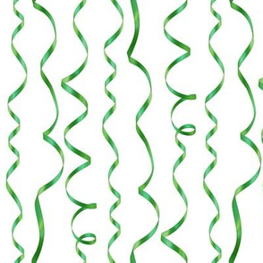 curling ribbons - green on white