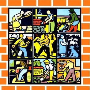 tiles bricks tradesman bakers construction workers bricklayer mason craftsman fisherman farmers blue collars miner shepherd mineworkers blacksmith