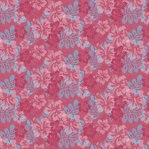 Hawaiian Lei Flower Pattern in Reds & Blues