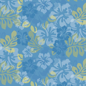 Hawaiian Lei Flower Pattern in Blues & Yellow