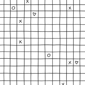 black white xoxo checkered grid