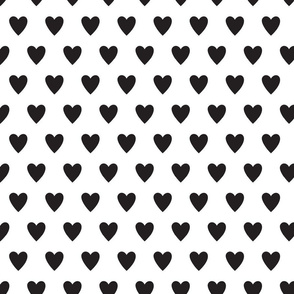 hearts-white & black