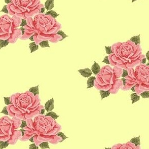 Vintage Roses on Yellow