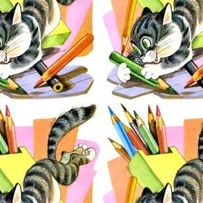 cats kittens coloring pencils colorful vintage retro kitsch striped stripes whimsical