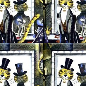 big cats tigers top hats tuxedos backstage makeup mirrors crowns flowers costumes props formal suit dinner jacket candles vintage retro kitsch