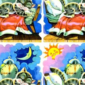 sun moon clouds sleeping cats kittens pussy wind up alarm clocks beds napping resting napping vintage retro kitsch day night
