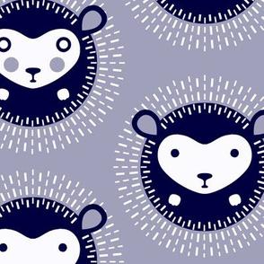 Hedgehog polka dot - dusky lavender