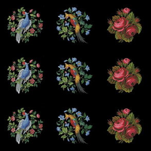 Embroidered birds & roses