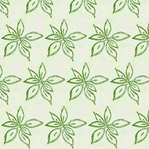 leaves block print green