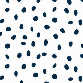 dalmation dots - navy on white