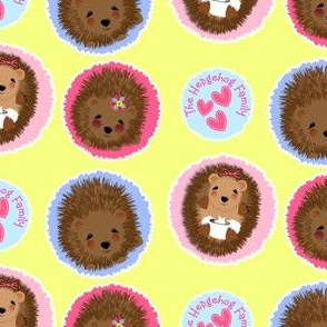 Cute Whimsy Woodland Hedgehog Family