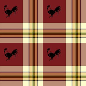 Rooster on plaid