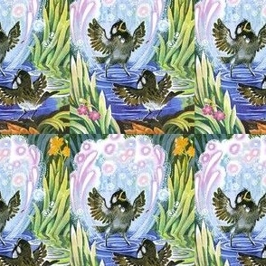singing birds gardens flowers plants grasses bubbles nature vintage retro kitsch whimsical puddles water