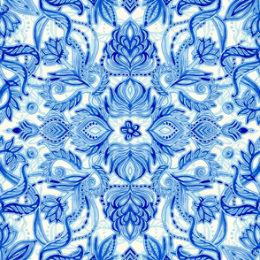 Electric Blue Watercolor Doodle Pattern