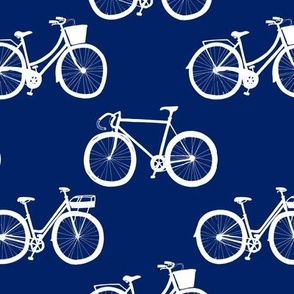 White Bikes on Navy