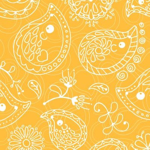 Hedgehog Paisley - White & Yellow