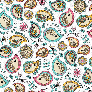 Hedgehog Paisley - Colors & White