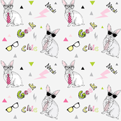 nerdy chic geek bunny hipster print
