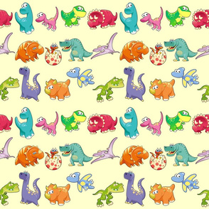 Group of funny dinosaurs with background