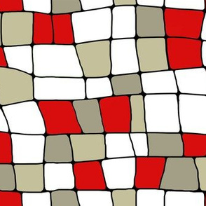 stained glass houses red and white