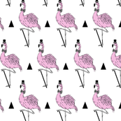 flamingo dressed up in retro style