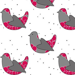birds grey pink heart wing with circles and dots