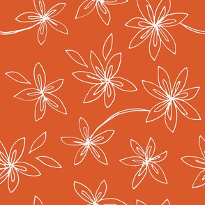 Floral Drawing on Orange