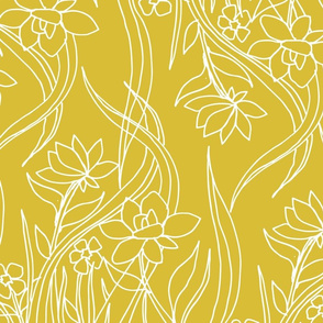 Floral Drawing on Yellow
