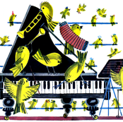 canary yellow birds music musicians singer singing trumpets pianos accordions pianos bugles xylophone vibraphone concerts perform band carnaries