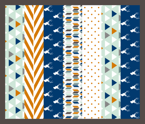 Navy Orange Mint Deer Quilt