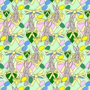 Bunny, Hearts, Bows and Easter Eggs Fabric 8