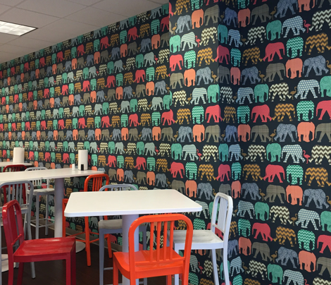 *A* wallpaper large scale baby elephants and flamingos