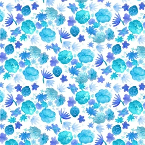 Watercolor Flowers Blue