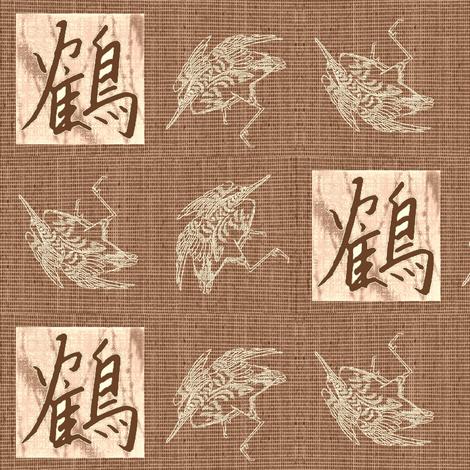 Cranes & Kanji - burnt sienna