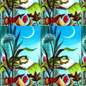frogs toads sleeping night moon plants pillows trees leaves fruits vintage retro kitsch