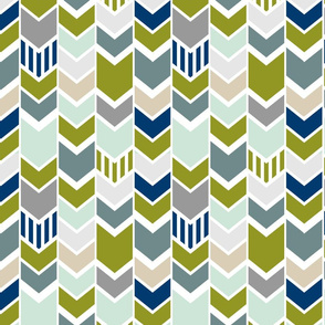 Green Navy Gray Chevron