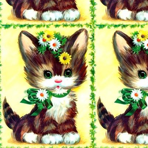 cats kittens pussy ribbons vines leaves leaf daisy flowers daisies lolita vintage retro kitsch whimsical adorable cute