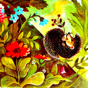 hedgehogs flowers trees forests countryside vintage retro kitsch whimsical leaf leaves