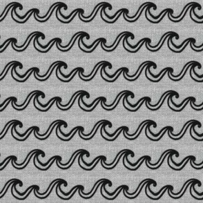 Black Waves on Gray Texture BR